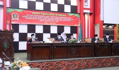 DPRD Kabupaten Sambas gelar Paripurna Istimewa Pengumuman Hasil Penetapan Pasangan Calon Bupati dan Wakil Bupati Terpilih Pilkada Sambas 2020